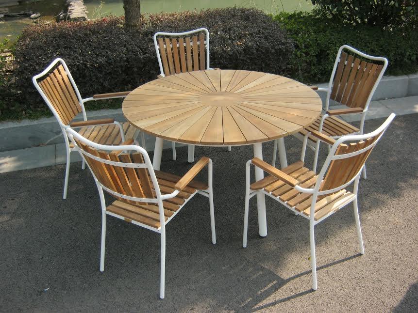 Sidste nye Teak Ø130cm + 5 stole hvid ZI-78